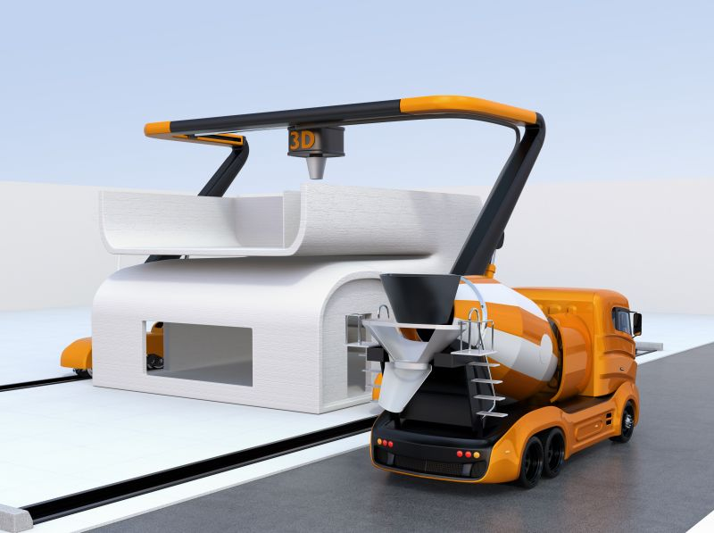Industrial 3D Printed Home with Concrete Mixer Truck